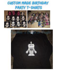 Cuatom Made Birthday Party T-Shirts  #party #birthdayparty #partyshirts #birthdayfavors #partyfavors #robot #custommade #cynthiascraftsinvirginia #amazon #yesbbb