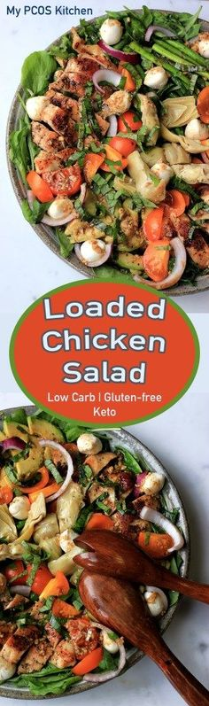 My PCOS Kitchen - Loaded Chicken Salad - A delicious grilled chicken salad with mozzarella, tomatos, red onions, artichoke and fresh basil! via My PCOS Kitchen Lunch Recipes, Dinner Recipes, Cooking Recipes, Kitchen Recipes, Summer Recipes, Low Carb Lunch, Low Carb Keto, Salad Dressing Recipes, Salad Recipes
