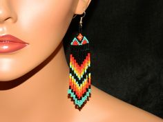 Native American Beautiful FireSky Dangle Beaded Earrings with Red and Orange Top.