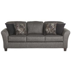 """Serta Upholstery Vonce Sofa The cheapest of my options $539. Fairly  boring. Slightly tall Overall: 38"""" H x 87"""" W x 37"""" D"""