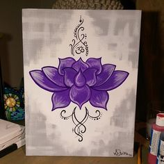 FOR SALE - Original Lotus Canvas Art #artist #painting #acrylic #11x14 #lotus…