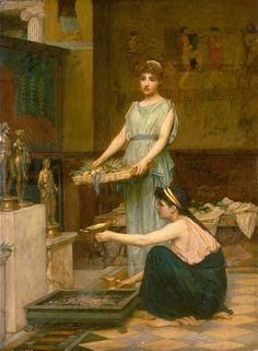 John William Waterhouse - Sacrifice at the house altar