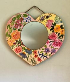 Cottagecore mirror, best friend gift, wall decor, floral heart mirror, romantic wall art, hand painted boho mirror, boho bedroom mirror Shabby Chic Jars, Shabby Chic Wall Decor, Bohemian Decor, Boho, Heart Mirror, Vintage Jars, Hand Painted Walls, Pretty Roses, Gifts For Friends