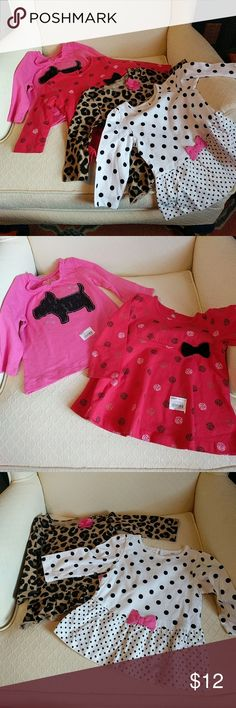 NWT Long Sleeve Tops (Dog, Dots, Glitter, Leopard) Adorable four pack of new with tags long sleeve tops for baby girl! Such a sweet assortment of tops. All Jumping Beans brand, size 6 months. jumping beans Shirts & Tops