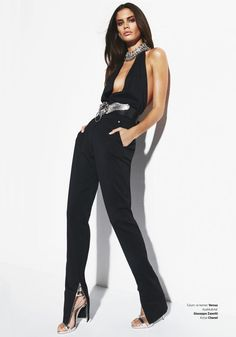 Sara Sampaio models Versus Versace top and pants with Giuseppe Zanotti heels