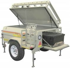 The Savuti Trailer is compact yet sports a deeper body than standard trailers, allowing for storage of typical camping equipment inside. Two Man Tent, Two Person Tent, Trailer Tent, Off Road Trailer, Trailers For Sale, New Trailers, Trailer Sales, Table Storage, Storage Spaces