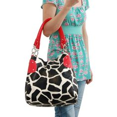 Buy New: $15.99: Red Large Vicky Giraffe Print Faux Leather Satchel Bag #Handbag #Purse