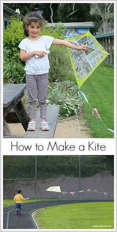 How to make a kite using newspaper or garbage (trash) bag and wooden dowels! Fun family STEM activity for spring! ~ BuggyandBuddy.com