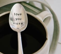 Love You More Hand Stamped Vintage Coffee by jessicaNdesigns