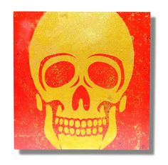 Glitter skull stencil art on canvas by James Warner