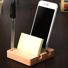 Universal Desk Wood Pen Mobile Smart Phone Holder Memo Pad Storage Stand Office