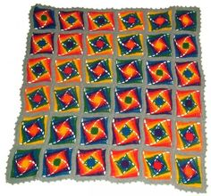 Rainbow crochet granny square afghan pattern for sale from Renate Kirkpatrick