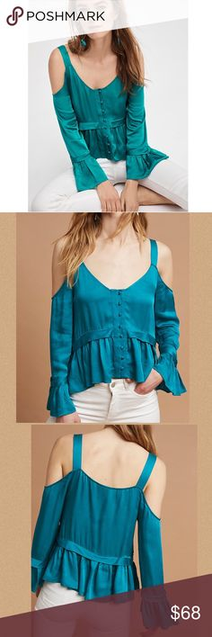 "🎉BOGO 🆓🎉NWT Anthro Bygones Open-Shoulder Blouse Gorgeous open-shoulder blouse by Maeve for Anthropologie in Dark Turquoise.  Ruffled sleeves.  Button front.  Viscose.  15.5"" length. Anthropologie Tops Blouses"