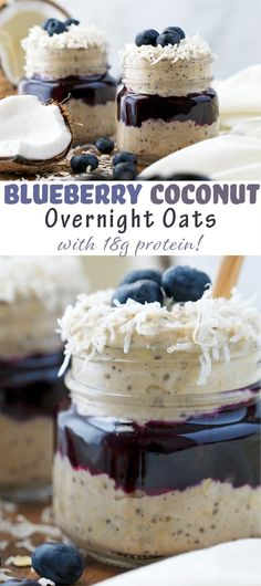 Blueberry Coconut Protein Overnight Oats - an easy, healthy meal prep breakfast with 18 grams of protein per serving!