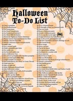 Halloween to do list