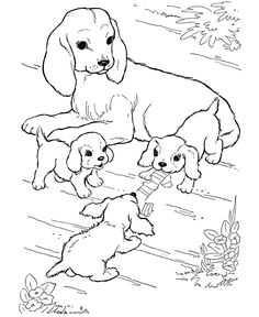dog color pages printable | Dog Coloring Pages | Mother dog watching her puppies play coloring ...