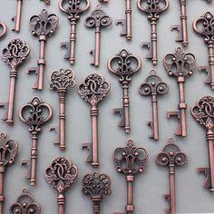 Details about 100Pcs Antiqued Copper Skeleton Keys Bottle Openers Mix Wedding…