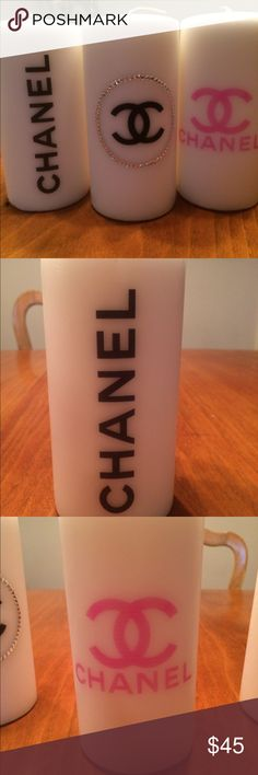 Chanel candles Set of three fashion candles with hand added rhinestones perfect addition to any room ❣️ or also makes a great gift Accessories
