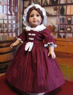 Another beautiful Holiday Colonial dress by Eve, KeepersDollyDuds. Festive, but entirely within the era.