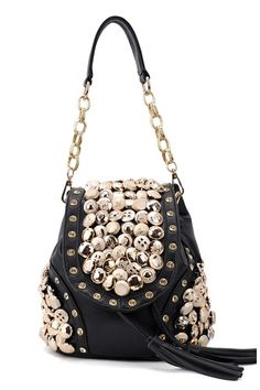 This shoulder bag crafted in PU, featuring golden-tone buttons embellished to the main, chain single handle, flap with magnetic snap, drawstring closure to top, a detachable shoulder strap.$63
