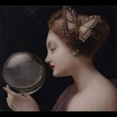 A Lady's Guess by Stephen Mackey The Bell Jar, Old Master, Muted Colors, Crystal Ball, Art Boards, Creations, Sculpture, Statue, Photo And Video