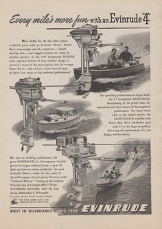 1948 EVINRUDE OUTBOARD MOTOR AD - ZEPHYR, LIGHTFOUR, SPEEDIFOUR MODELS