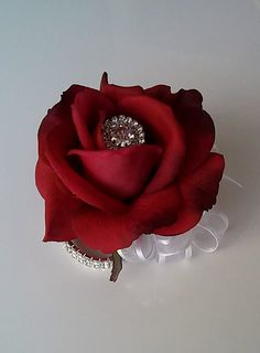 Real Touch Rose Wrist Corsage-Red and White by BecauseOfLoveFloral