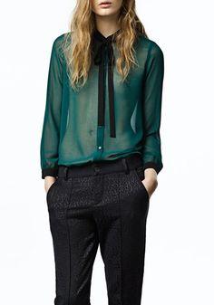 Green Plain Bow Belt Lapel Cotton Blend Blouse!