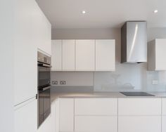 Clean contemporary modern kitchen in white , no handles