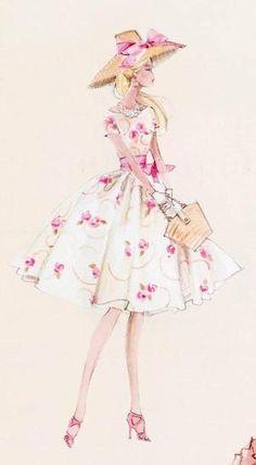 Robert Best Barbie sketch of Silkstone Babie in Garden Party Fashion 2000 BFMC