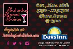 Now accepting vendors for Saturday, Nov. 18th 5:30- 11:30pm the 3rd Saturday Social Soiree at Days Inn, La Crosse, WI. Overview Pricing, Info & Vendors sign up at: a2zsocialdesign.com There will be a makeup, beauty, pampering, shopping, the cash bar will be open & drag/variety show, drag comedy, male performers & other entertainment. Dress to impress, drinks, shopping, glitter, photo fun, an AMAZING night out & more! La Crosse, Local Events, Nail Designs, Glitter Photo, Entertaining, Day, Design Art, Comedy, 18th