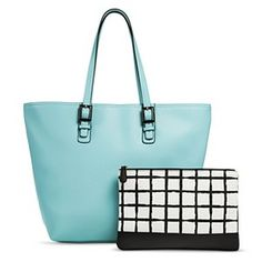 Women's Tote Handbag with Checker Pattern Clutch Included - Light Blue