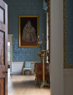 View from the Wardrobe into the Bedroom in the State Apartments at Kedleston Hall, Derbyshire