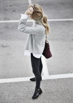 pony + sweater + white button down