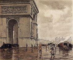 T.F. Simon, place de l'etoile sous la luie, 1921