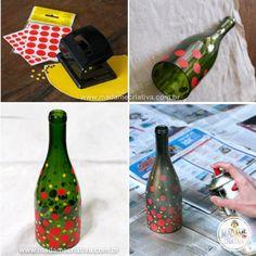 Pintando garrafa de vidro