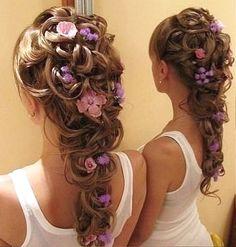 Rapunzel hair with flowers  #rapunzel #curledhair #hair #hairstyles