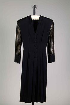 Dress Mme. Eta Hentz  Date: ca. 1945 Culture: American Medium: Synthetic, sequins Accession Number: 2009.300.6592a–c