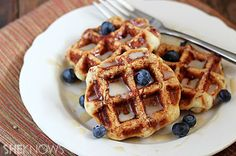 Cinnamon Roll Waffles with Maple Cream Cheese Syrup | ChefMom.com