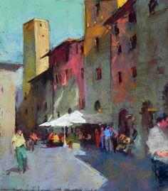 """Italian Cafe  pastel  16"""" x 12"""" Figures Aline E. Ordman"""