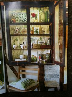 August country living vintage display cabinet, botanical prints as wall paper
