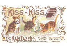 Finnish design candy wrapper Kiss Kiss by Fazer alun Kiss-kiss-kissoja maukumassa.