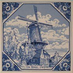 DELFTS blauwe tegel - 15x15cm - molen De Roos - Phoenixtraat - Delft