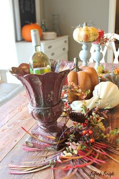 Layering your Fall Table (I really just like the vase/wine chller)