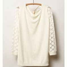 Wardrobe GoalsHP Anthro Dotlace Pullover Anthropologie Dotlace pullover. By sparrow. Button back. Cotton, nylon, cashmere. Sheer sleeves. In excellent condition. Anthropologie Tops