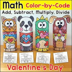 Valentine's+Day+Color+by+Code+3D+Characters:+Practice+number+matching,+adding,+subtracting,+multiplying+or+dividing+with+these+fun+Valentine's+Day+theme+color-by-code+pictures+that+turn+into+a+3D+paper+toys!+This+activity+is+perfect+for+math+centers,+morning+work,+early+finishers,+substitutes+or+homework.This+product+includes+5+pictures:+Panda,+Dinosaur,+Dog,+Cat+and+Squirrel.Each+picture+has+33+worksheets+for+the+following+skills:+matching+numbers+to+20,+number+words,+addition+to+20,+subtra...