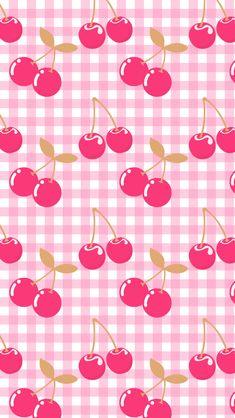 Pink Cherries Gingham Wallpaper.