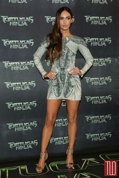 """Megan Fox attends the premiere of """"Teenage Mutant Ninja Turtles"""" at Cinepolis Acoxpa in Mexico City, Mexico in a Zuhair Murad dress paired w..."""