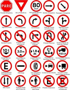 Placas de trânsito e seus significados Traffic Signs And Symbols, All Traffic Signs, Learning To Drive Tips, Driving Test Tips, Drivers Permit, Drivers Ed, Road Sign Meanings, Road Signals, Road Safety Signs
