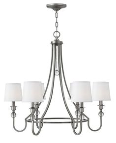 """Hinkley Lighting - Morgan 4876AN 4876AN Width: 30.0"""" Height: 27.8"""" Weight: 10.0 lbs Material: Steel Shade: White Linen Canopy: 5.75"""" Dia. Socket: 6-60w CAND Chain: 60.0"""" Leadwire: 72.0"""" Certification: C-US Dry Rated Voltage: 120v - See more at: http://www.hinkleylighting.com/product/antique-nickel-morgan-chandeliers-2#sthash.jthQqo42.dpuf"""